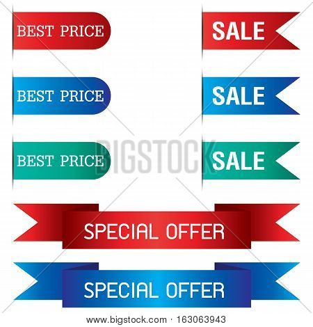 Tab Banner and Special Offer of ribbon design isolated on background.