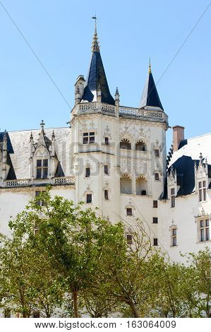 France Nantes - JULY 26 2014: Fragment of the facade of the castle des Ducs.