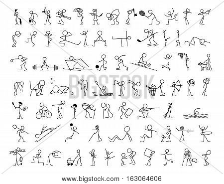 Cartoon icons set of sketch stick figures vector people in cute miniature scenes.