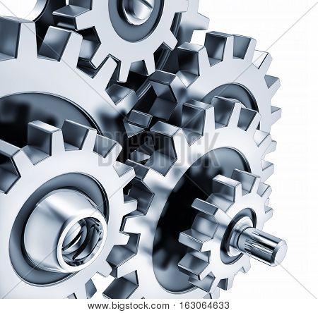 3D rendering of gears as a teamwork concept