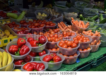 Vegetables and fruits in the market of Birmingham, United Kingdom