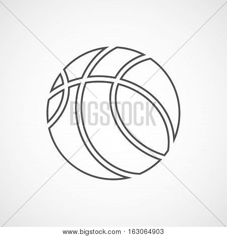 Vector flat stylize line basketball icon. Isolated black icon for logo web site design button app UI. Basketball illustration for posters cards book cover flyers banner web game designs.