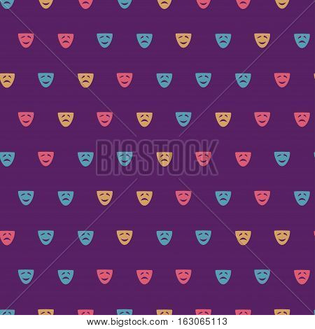 Vector hand drawn cartoon seamless pattern with comedy and drama mask. Cinema theater theme. Colored comedy and drama pattern for paper textile polygraphy game web design