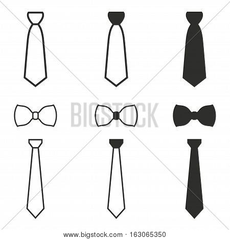 Necktie vector icons set. Black illustration isolated on white background for graphic and web design.