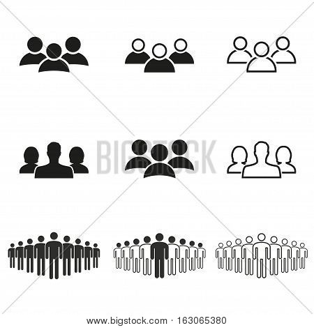 People vector icons set. Black illustration isolated on white background for graphic and web design.