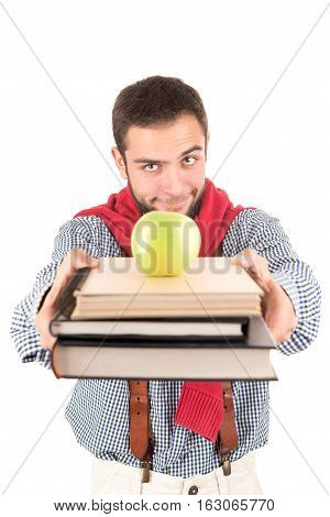 Nerd Posing With Books And Apple