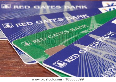 Russia - December 14, 2016: Red Gates Bank BNKV cards, which stopped issuing deposits and stopped working, customers expect solutions Deposit Insurance Agency of Russia