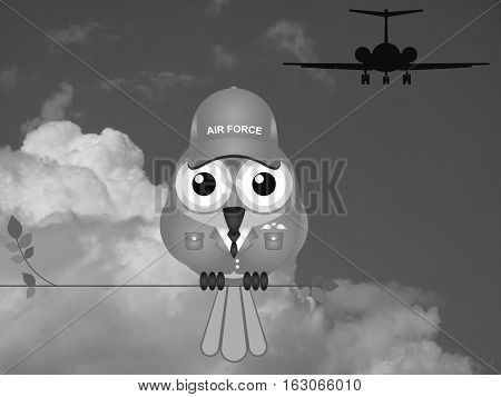 Monochrome comical bird Airman sat on a tree branch against a cloudy sky