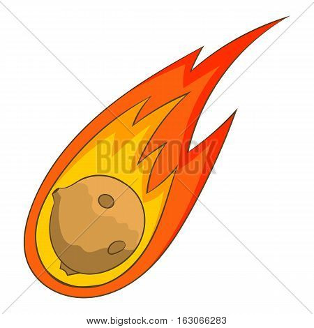 Flame meteorite icon. Cartoon illustration of flame meteorite vector icon for web design