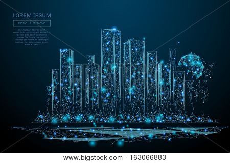 Abstract image of a Megalopolis in the form of a starry sky or space, consisting of points, lines, and shapes in the form of planets, stars and the universe. Big city vector wireframe concept