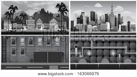 Set of black and white panorama cities. illustration for games. canalization, town, street