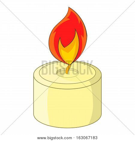Burning candle icon. Cartoon illustration of candle vector icon for web design