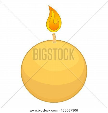 Round candle icon. Cartoon illustration of candle vector icon for web design