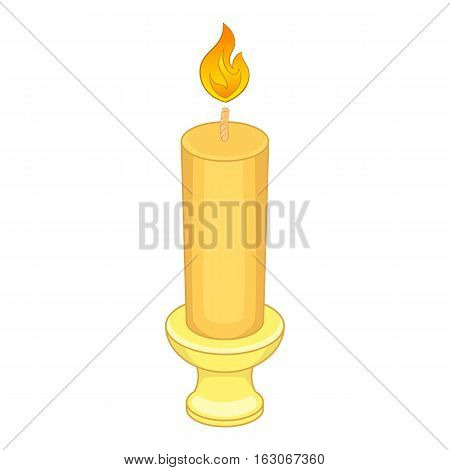 Candle with candlestick icon. Cartoon illustration of candle vector icon for web design