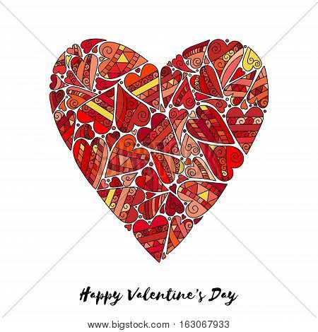 Vector romantic seamless pattern with hand drawn red heart doodles.