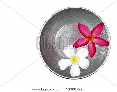 red and white flowers floating in silver bowl isolated on white background, for Songkran festival in Thailand