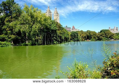 New York. Central Park/.Romantic view of a pond in Central Park