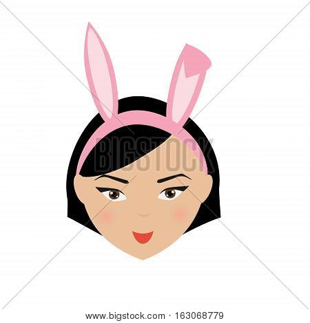 Cute kawaii smiling girl with bunny ears emoji. Isolated woman face expression icon label userpic design element