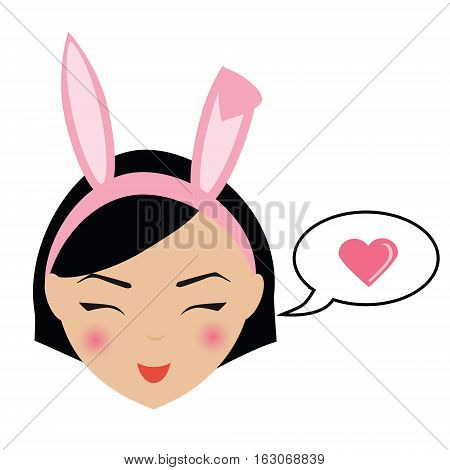 Cute kawaii smiling girl with bunny ears emoji. Isolated woman face expression icon label userpic. Design element for Valentine day. Female with speech bubble and heart sign.