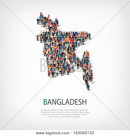 Isometric set of styles, people, map of Bangladesh , country, web infographics concept of crowded space, flat 3d. Crowd point group forming a predetermined shape. Creative people.  illustration. Photo .3D illustration. White background . Isolated.