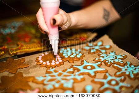 Making Gingerbread Cookies Series. Preparing And Cutting Dough Sheet Into Shapes.