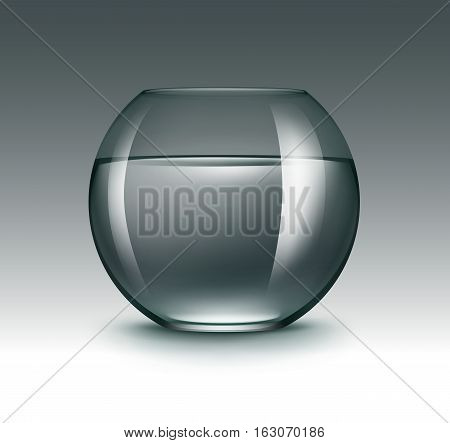 Vector Realistic Black Green Transparent Shiny Glass Fishbowl Aquarium with Water without Fish Isolated on Dark Background
