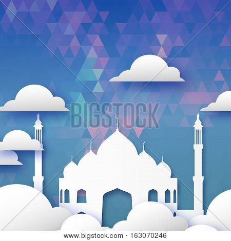 Origami Mosque Window Ramadan Kareem Greeting card on blue geometric triangle pattern blue background. Holy month of muslim. Symbol of Islam. Applique Vector illustration.