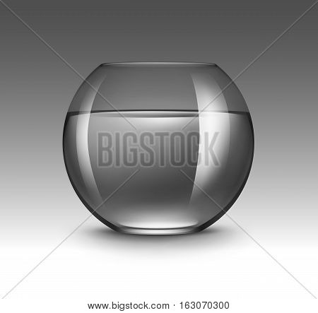 Vector Realistic Black Transparent Shiny Glass Fishbowl Aquarium with Water without Fish Isolated on Dark Background