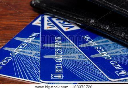 Russia - December 14 2016: Red Gates Bank BNKV cards which stopped issuing deposits and stopped working customers expect solutions Deposit Insurance Agency of Russia
