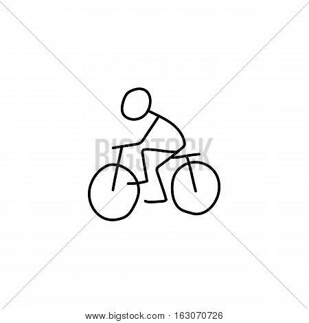 Stick figure bike rider man icon vector