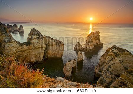 A view of a natural rock formations against a sunset in Lagos. Dec 2016
