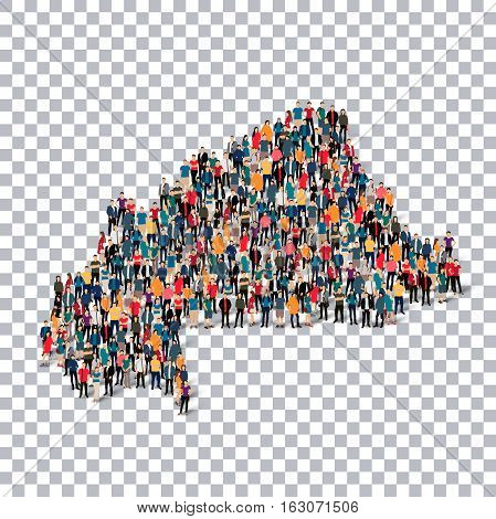 Isometric set of styles, people, map of Burkina Faso, country, web infographics concept of crowded space, flat 3d. Crowd point group forming a predetermined shape. Creative people.  illustration. Photo .3D illustration. Transparent background . Isolated.