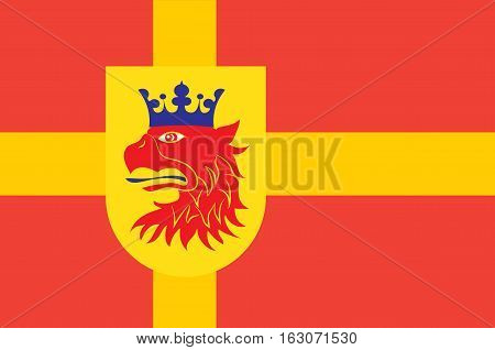 Flag of Scania is the southernmost province of Sweden. Vector illustration