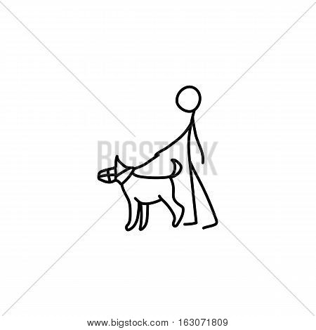 Stick figure man man and dog icon vector