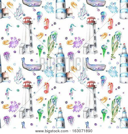 Seamless pattern with watercolor elements to the marine theme: lighthouses, whales, seahorses, jellyfishes and others marine elements; hand painted on a white background