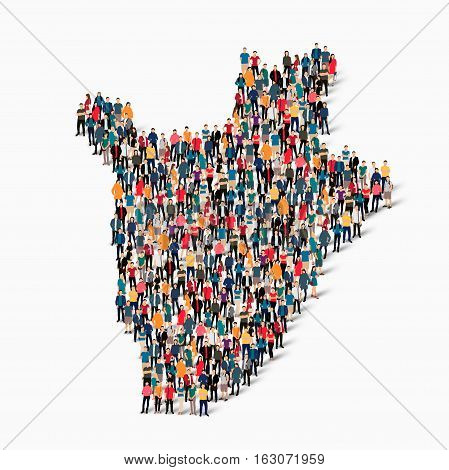 Isometric set of styles, people, map of Burundi , country, web infographics concept of crowded space, flat 3d. Crowd point group forming a predetermined shape. Creative people.  illustration. Photo .3D illustration. White background . Isolated.