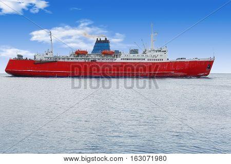 Ships dock port cargo handler blue sea work