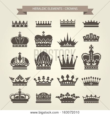 Heraldic crowns set - monarchy coronet and elite symbols