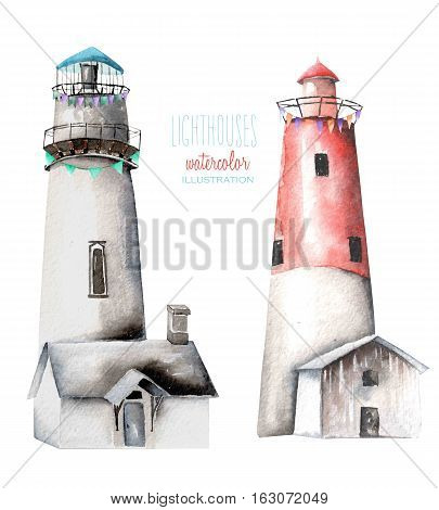 Illustration with watercolor lighthouses, hand painted isolated on a white background