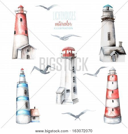 Illustration with watercolor lighthouses and seagulls, hand painted isolated on a white background