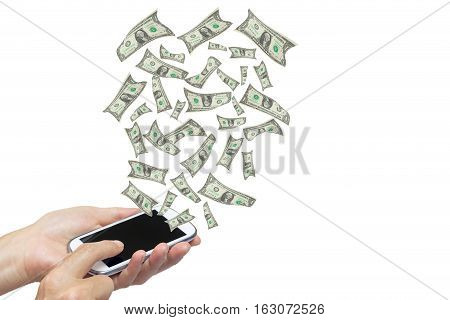 Female hands are holding some smart phone. Banknotes are flying on the white background. All potential trademarks are removed.