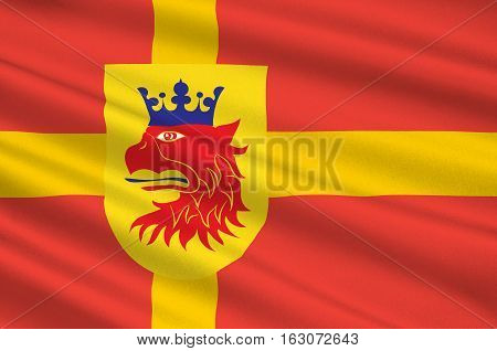 Flag of Scania is the southernmost province of Sweden. 3d illustration