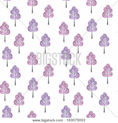 Seamless floral pattern with simple purple trees, hand drawn in watercolor on a white background