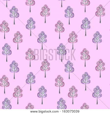Seamless floral pattern with simple trees, hand drawn in watercolor on a purple background