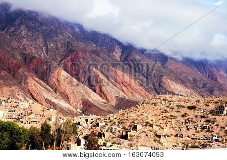 Long shot of the Cerro de los siete colores or the hill of seven colors in Humahuaca in Argentina South America