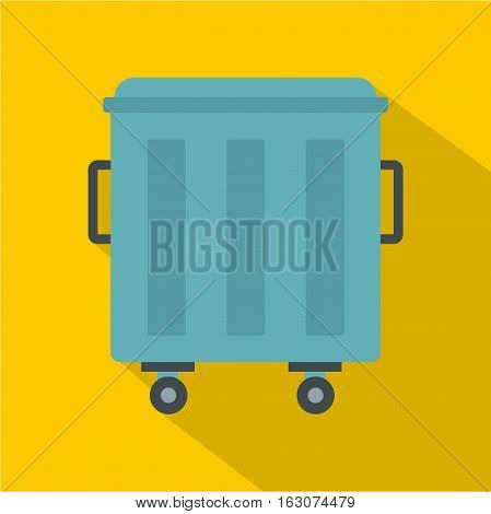 Metal trashcan icon. Flat illustration of metal trashcan vector icon for web