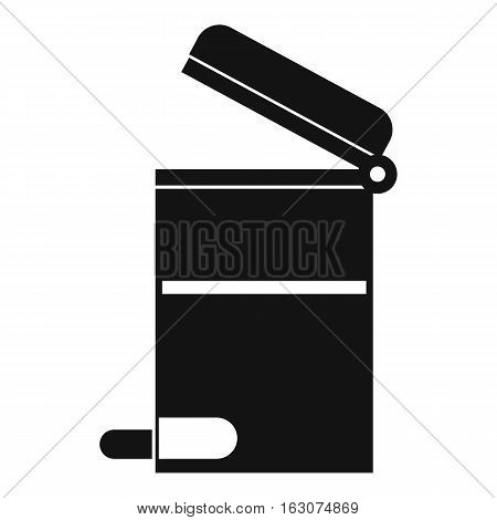 Steel trashcan icon. Simple illustration of steel trashcan vector icon for web