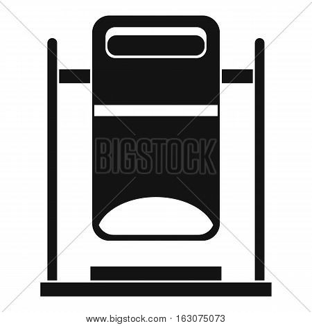 Swinging trashcan icon. Simple illustration of swinging trashcan vector icon for web