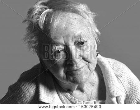 Old  Sick Sad Woman