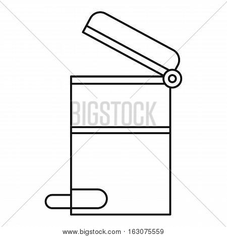 Steel trashcan icon. Outline illustration of steel trashcan vector icon for web